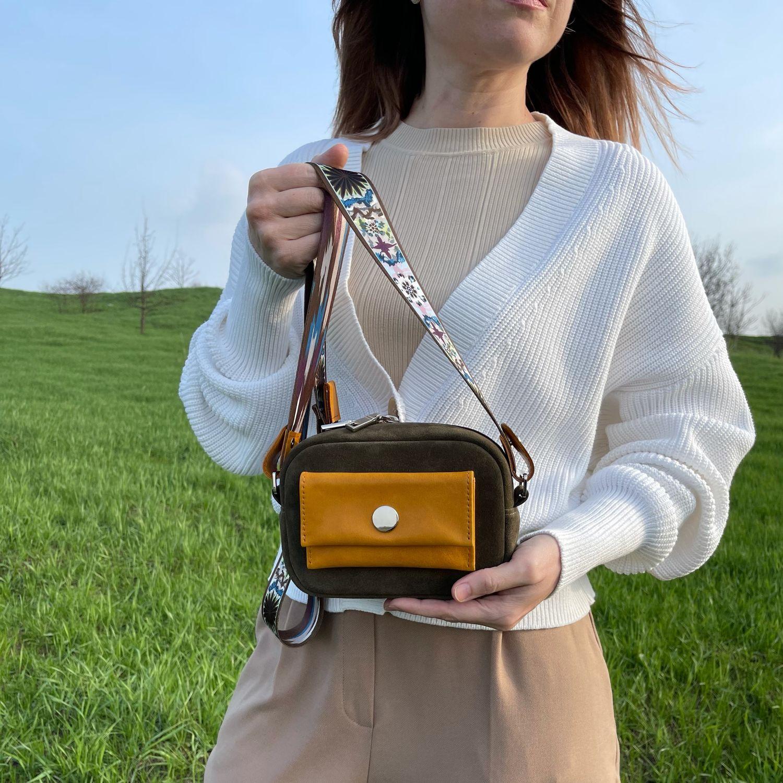 Mini cross-body handbag made of genuine suede color olive sun, Crossbody bag, Armavir,  Фото №1