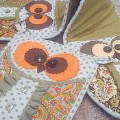 """Для дома и интерьера ручной работы. Ярмарка Мастеров - ручная работа Набор прихваток """"Три совы"""". Handmade."""