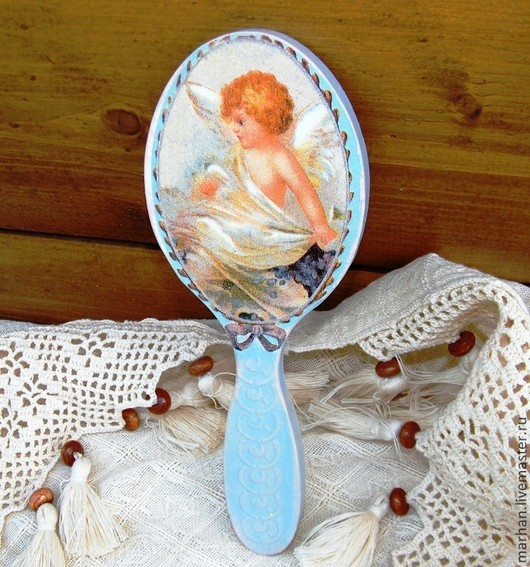 зеркальце, зеркало, зеркало декупаж, декупаж работы, ангел, Зеркальце ручной работы, зеркало деревянное, зеркальце на ручке, подарок девушке, подарок женщине, недорогой подарок