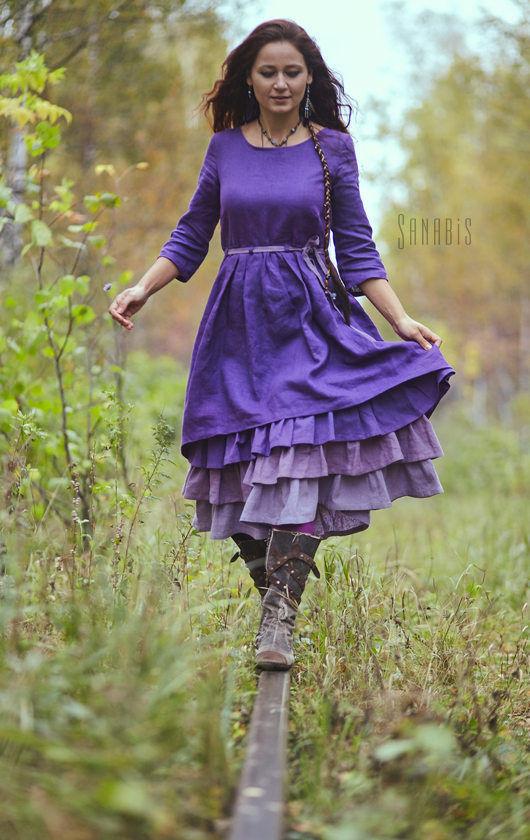 Платья ручной работы. Ярмарка Мастеров - ручная работа. Купить Многослойное платье из льна «Лавандовое». Handmade. Тёмно-фиолетовый