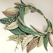 Украшения handmade. Livemaster - original item Sketch of Lily of the valley. necklace. Genuine leather, pearl. Handmade.