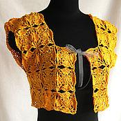 Одежда ручной работы. Ярмарка Мастеров - ручная работа Болеро женское летнее связано крючком из хлопковой пряжи желтого цвета. Handmade.