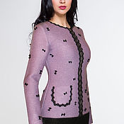 Одежда handmade. Livemaster - original item Jacket designer of knitted Jersey with embroidery. Handmade.