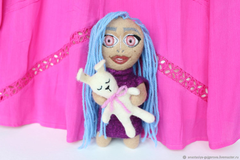felt toy: Doll with blue hair, Felted Toy, Kaluga,  Фото №1