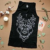 Одежда ручной работы. Ярмарка Мастеров - ручная работа Майка с оленем и бусами. Handmade.