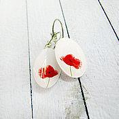 Украшения ручной работы. Ярмарка Мастеров - ручная работа Маки,  серьги. Handmade.