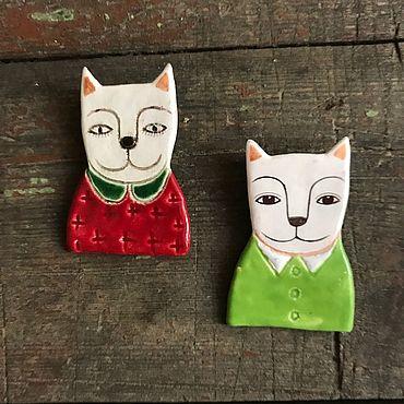 Украшения ручной работы. Ярмарка Мастеров - ручная работа Броши: Котейки. Handmade.
