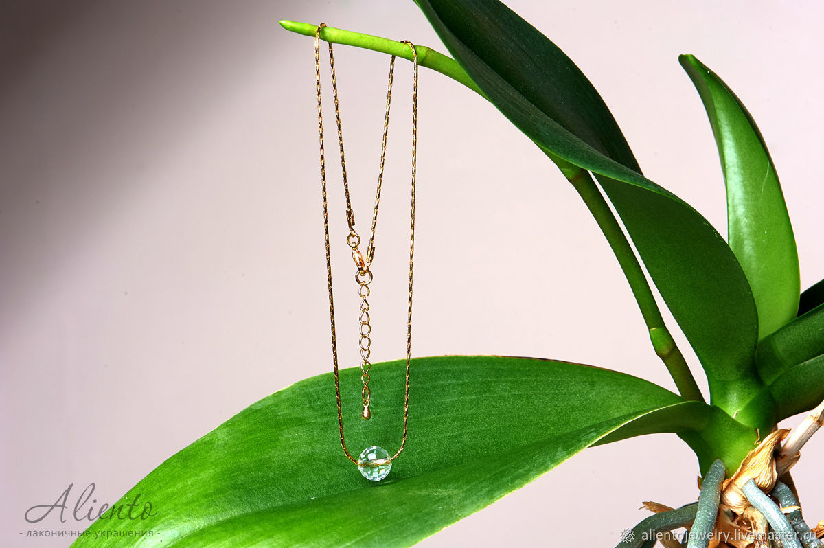 Glass faceted glass bead on gold plated chain, Necklace, Moscow,  Фото №1