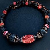 """Украшения ручной работы. Ярмарка Мастеров - ручная работа Колье """"Креолка"""" - губчатый коралл, лава, варисцит. Handmade."""