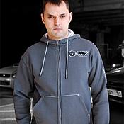 Одежда handmade. Livemaster - original item Men`s grey wolf hoodie, zip-up hoodie with hood. Handmade.