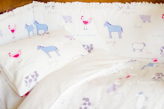 """Детская ручной работы. Ярмарка Мастеров - ручная работа. Купить Комплект в кроватку с бортиками """"Ферма"""". Handmade. Белый, простынь"""