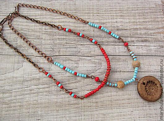 ярко-красный     бирюзовый     голубой     ожерелье     ожерелье с подвеской     ожерелье из бисера     ожерелья     бусы     tribal     дикий запад     бохо украшения     бохо     для девушки