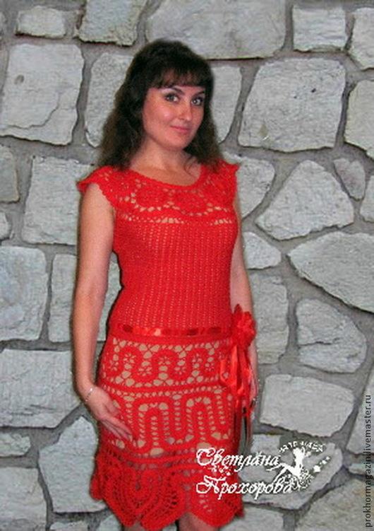 Платья ручной работы. Ярмарка Мастеров - ручная работа. Купить Платье крючком брюггским кружевом. Handmade. Ярко-красный