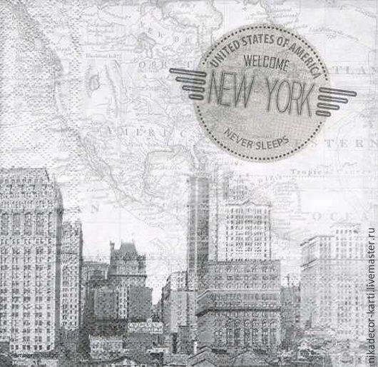 Декупаж и роспись ручной работы. Ярмарка Мастеров - ручная работа. Купить Нью-Йорк (13308920) - салфетка для декупажа. Handmade. Разноцветный