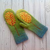 Аксессуары handmade. Livemaster - original item Copy of work knitted mittens in mixed media tree. Handmade.