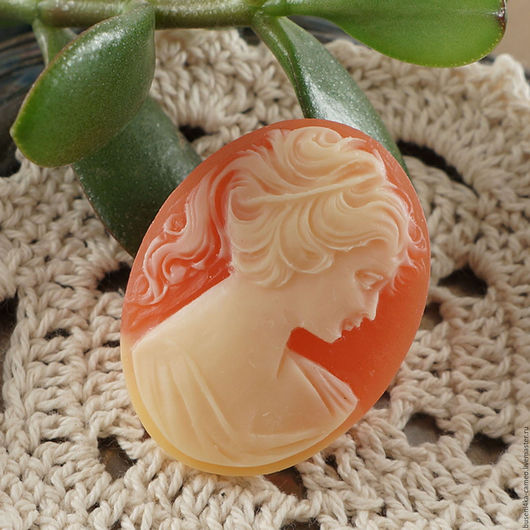 Для украшений ручной работы. Ярмарка Мастеров - ручная работа. Купить Камея Дама персиковая, 30х40мм (1шт). Handmade. Камея