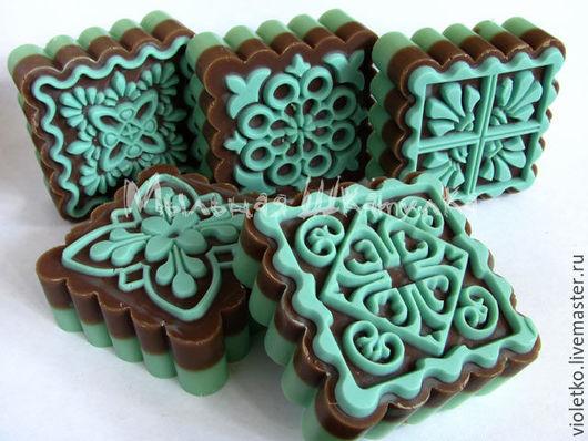 Мыло ручной работы. Ярмарка Мастеров - ручная работа. Купить Натуральное мыло(с нуля)  Мятный Шоколад. Handmade. Бирюзовый