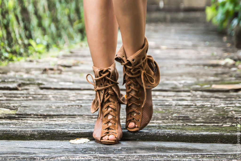 Handmade Shoes handmade. Livemaster - handmade. Buy Boots summer genuine leather and suede.Brown, leather shoes