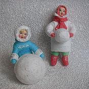 Елочные игрушка из ваты своими руками