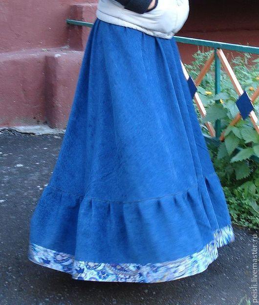 Юбки ручной работы. Ярмарка Мастеров - ручная работа. Купить Юбка длинная вельветовая синяя. Handmade. Длинная юбка