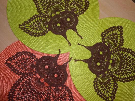 """Текстиль, ковры ручной работы. Ярмарка Мастеров - ручная работа. Купить Салфетка - панно """" Сова домашняя"""". Handmade. Комбинированный"""