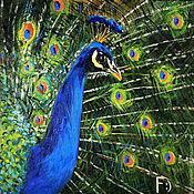 Картины и панно handmade. Livemaster - original item Oil painting on canvas. The song peacock.. Handmade.