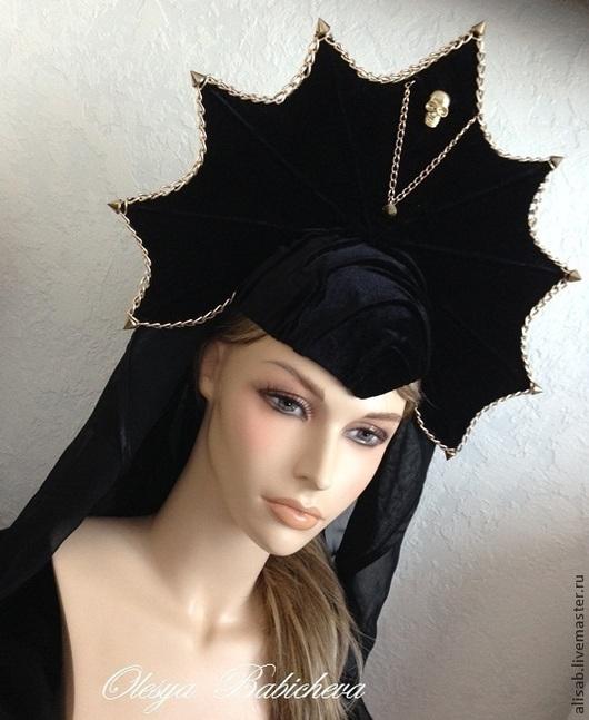 """Шляпы ручной работы. Ярмарка Мастеров - ручная работа. Купить Кокошник """"Black widow"""". Handmade. Черный, хеллоуин, кокошник-стайл"""