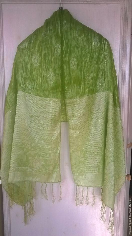 Винтажная одежда и аксессуары. Ярмарка Мастеров - ручная работа. Купить Шарф зеленый двухслойный. Handmade. Шарфик, шарфики