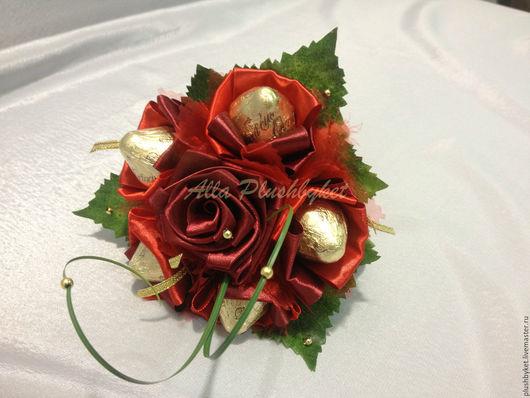 Подарки на свадьбу ручной работы. Ярмарка Мастеров - ручная работа. Купить мини букет с конфетами бордо. Handmade. Бордовый