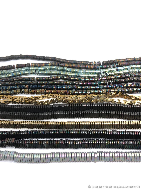 3.Гематит бусины чипсы диск матовые/глянец 4х1 мм, 6 мм, серый, темный, Бусины, Москва,  Фото №1