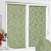 handmade. Livemaster - original item Roller blinds patterned jacquard, green 48 cm,120,140,160. Handmade.