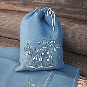 Для дома и интерьера handmade. Livemaster - original item Linen napkins and pouches with painting.. snowdrops... Handmade.