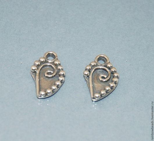 Подвеска листик для украшений  серебро 925 пробы