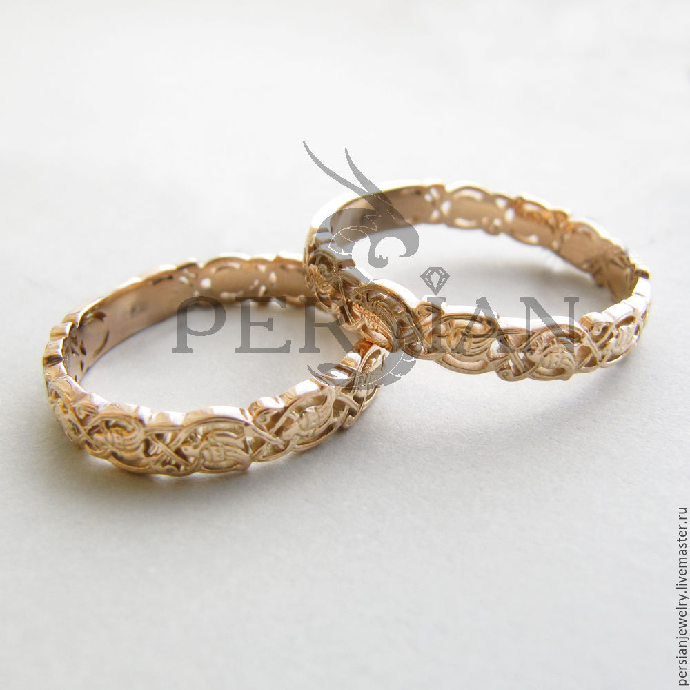 Gold wedding rings beautiful birds of Paradise, Wedding rings, Sevastopol,  Фото №1