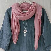 Аксессуары handmade. Livemaster - original item Light Dusty pink cotton Scarf-shawl. Handmade.