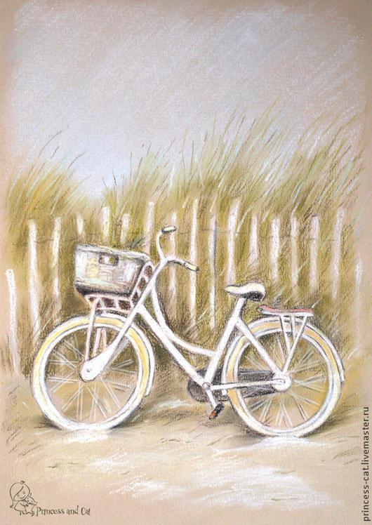 Пейзаж ручной работы. Ярмарка Мастеров - ручная работа. Купить Белый пляж. Handmade. Белый, пляж, трава, морской пейзаж
