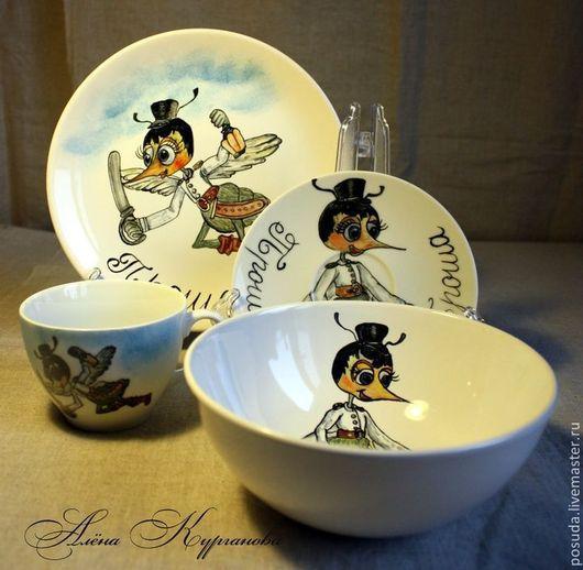 """Сервизы, чайные пары ручной работы. Ярмарка Мастеров - ручная работа. Купить Детский набор посуды """"Комарик"""". Handmade. Разноцветный"""