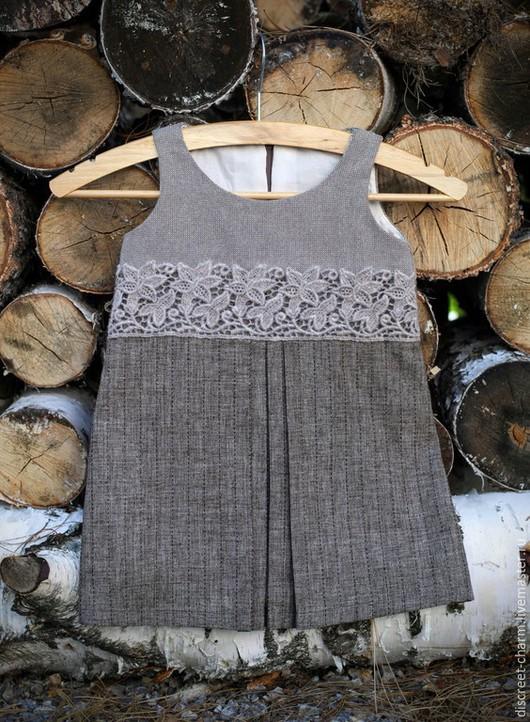 Одежда для девочек, ручной работы. Ярмарка Мастеров - ручная работа. Купить Зимний теплый детский сарафан с плотным шерстяным кружевом. Handmade.