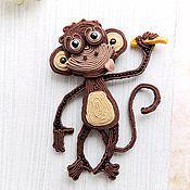 Украшения ручной работы. Ярмарка Мастеров - ручная работа Сутажная обезьянка. Handmade.
