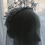 Свадебный салон ручной работы. Ярмарка Мастеров - ручная работа Свадебная корона на ободке  с горным хрусталем и бисером. Handmade.