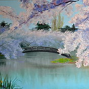 Картины и панно handmade. Livemaster - original item Oil painting Flowers Blooming garden. Japanese garden. Handmade.