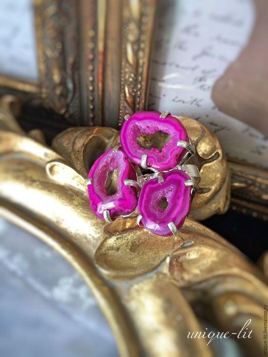 Кольца ручной работы. Ярмарка Мастеров - ручная работа. Купить Кольцо с жеодой Агата цвета фуксия 18,5 размера. Handmade.