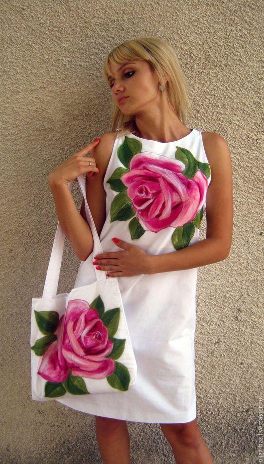 Комплект из льна ` Розовая роза`