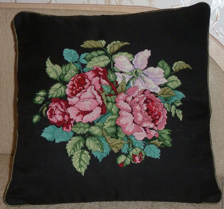Cross stitch Decorative Pillow Roses, Pillow, Rostov-on-Don,  Фото №1