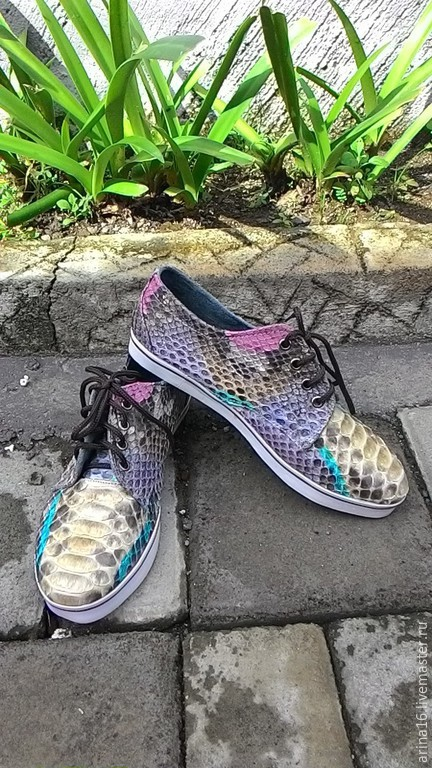 Обувь ручной работы. Ярмарка Мастеров - ручная работа. Купить кеды мультицвет. Handmade. Разноцветный, Кеды из кожи питона