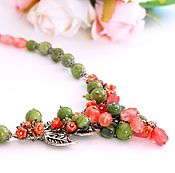 Украшения handmade. Livemaster - original item Necklace with chalcedony and jade. Handmade.