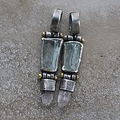 handmade. Livemaster - original item Beryl and kunzite earrings, silver and brass. Handmade.