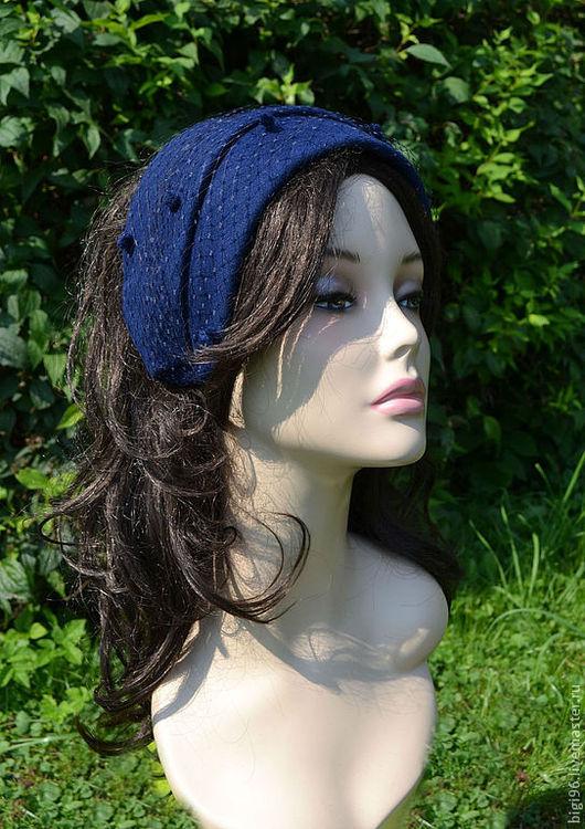 """Шляпы ручной работы. Ярмарка Мастеров - ручная работа. Купить Шляпка """" Синева"""". Handmade. Тёмно-синий, шляпа, вуаль"""