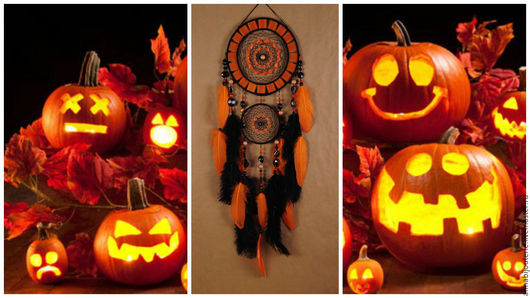Ловцы снов ручной работы. Ярмарка Мастеров - ручная работа. Купить Black Dreamcatcher halloween orange mosaic Dream Catcher Large. Handmade.