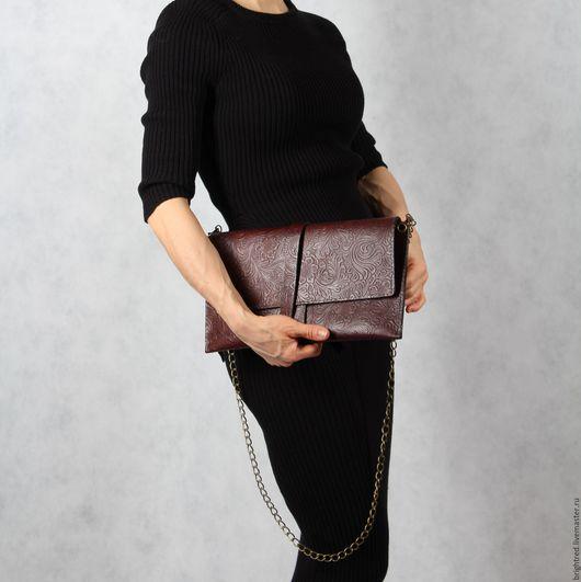 Женские сумки ручной работы. Ярмарка Мастеров - ручная работа. Купить Кожаный клатч Шоколадная пуля. Handmade. Коричневый